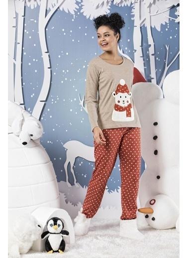 Siyah İnci Nakışlı İnterlok Pijama Takımı Renkli